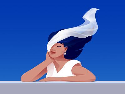 White scarf woman design vector art illustration