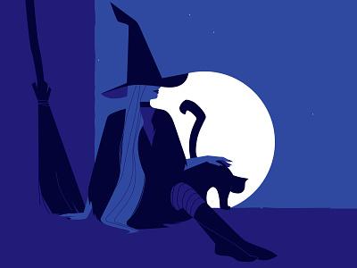 Witch 🧙♀️ vectorart cat moon night witchcraft witch halloween woman design vector art illustration
