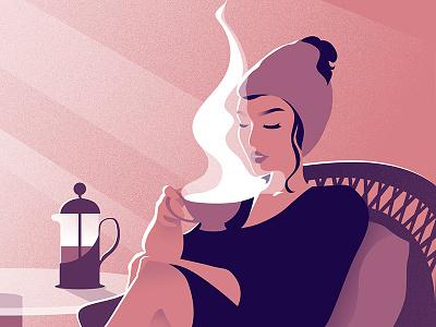 Morning bathrobe towel lady girl cup tea coffee morning
