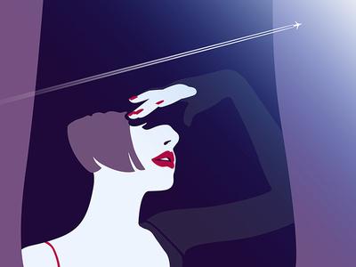 Flight lips lady window woman girl plane flight fly