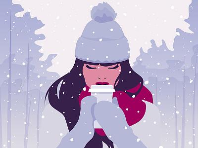 Snowy coffee to go scarf winter woman girl snowfall snow snowy