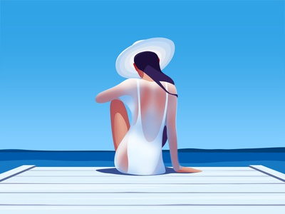 Catching the sun beach pier swimsuit hat blue sea summer girl sun