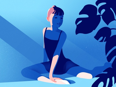 Stretching illustration art plants shadow light stretching dancer dance ballet child girl ballerina