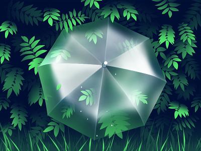 Umbrella transparent fresh freshness spring bush leaves greens umbrella