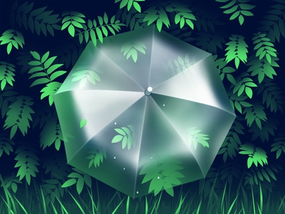 Umbrella transparent fresh freshness spring bush leaves greens umbrella