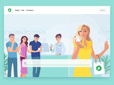 Uteka - illustration mobile app flat customer girl medication search service people pharmacy