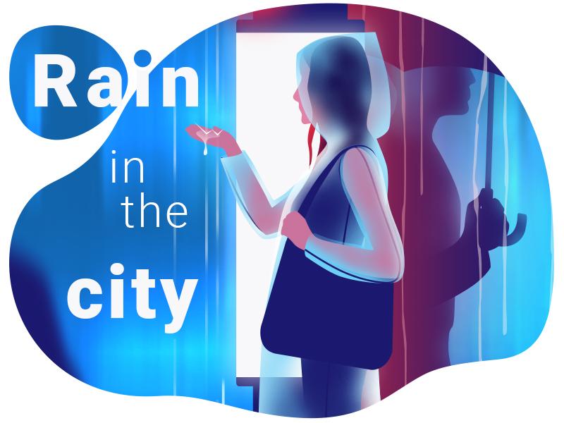 Rain in the city man umbrella raincoat drops water girl city rain