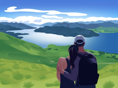 Travelers travel trip newzealand couple relationship love illustration picture clouds sky water landscape