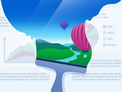 Non-Obvious Uses of Email mountain airballoon illustration landscape art