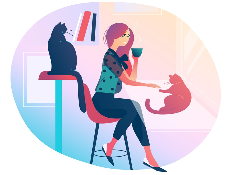 Cat Cafe cat cafe love light woman art illustration
