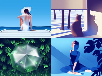 2018 top4shots vector design water woman illustration art dribbble