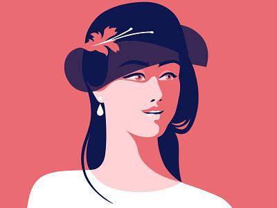 Lady beautiful lady retro flat red hat light art woman illustration girl