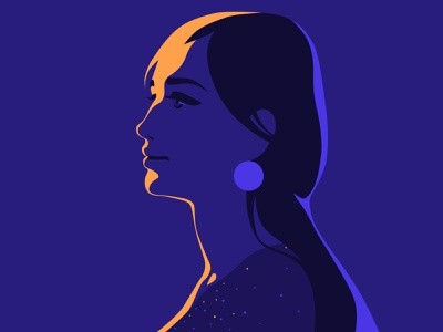 Diva retro beautiful flat vector design light woman art illustration girl