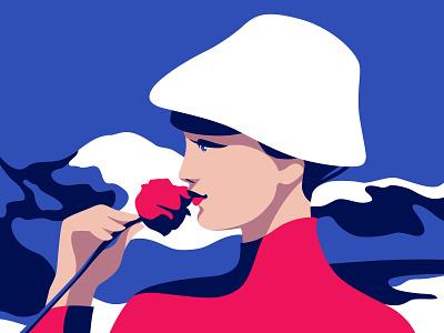Snow romance portait snow mountain rose hat love landscape art woman illustration girl