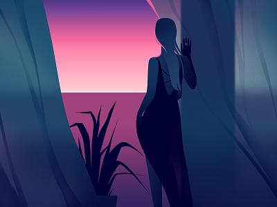 Fresh air vector light woman art illustration