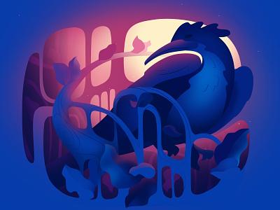Fairy Tale phoenix art nouveau modern design bird vector light art illustration