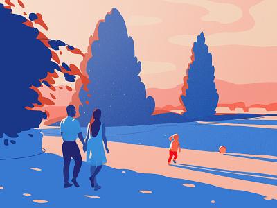 Summer walk child parents couple sky relationship design vector landscape light woman art girl illustration