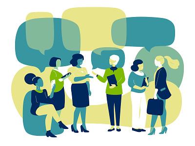 Meeting forum talk conversation meeting design vector woman