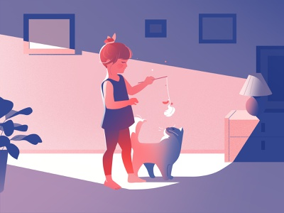 Friends cat design vector light art girl illustration