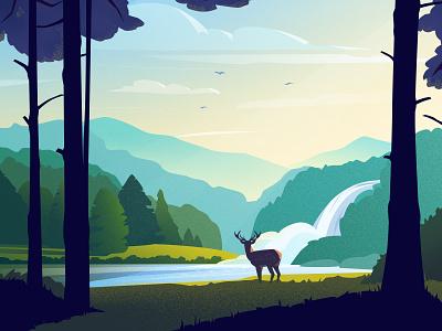 Forest river trees river forest deer sky water landscape design vector light art illustration