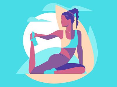 Stretching yoga flat landscape design vector art woman girl illustration