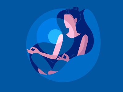 Meditation flat design vector light woman art girl illustration