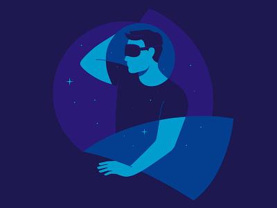 Sleep night man flat design vector art illustration