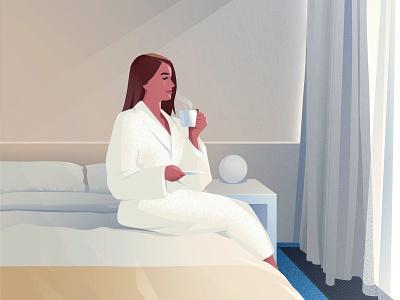 Hotel morning coffee morning hotel design vector light woman girl art illustration