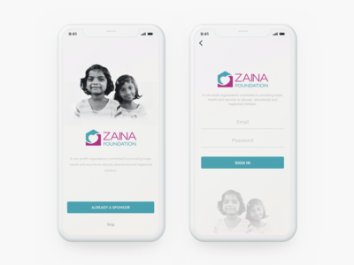 Zaina Foundation App UI | Splash   Login