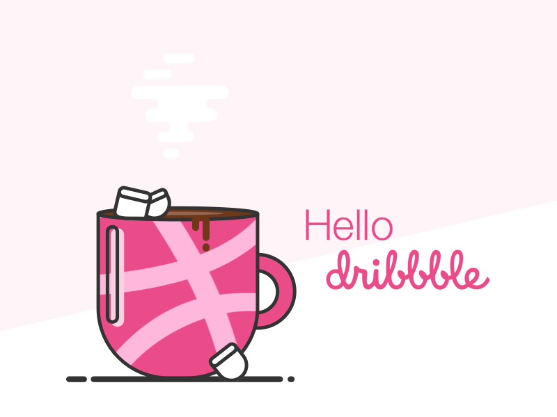 Good Morning Dribbble sketch vector illustration hello coffee first shot debut