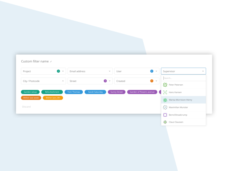 Complex filters - ux/ui best practice best practices clean ux ui design scalable drop down complementary colors tags color white space reduced reduce complexity complexity filtering filter sketch