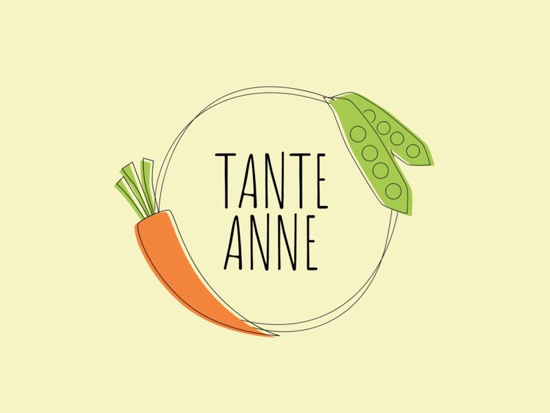 Tante Anne - logo design for a small shop minimal illustration casual ui  ux design pea carrot vegetables vegetable concept branding brand logo design logo 2d logo