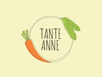 Tante Anne - logo design for a small shop minimal illustration casual ui  ux design pea carrot vegetables vegetable concept branding brand logo design logo 2d logo