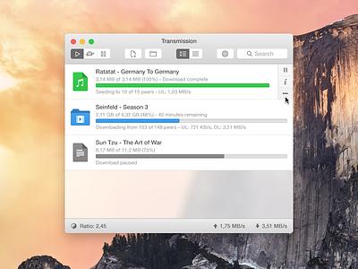 Transmission Redesign transmission yosemite mac torrent bittorrent file folder movie magnet speed icon
