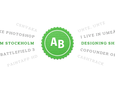 Personal website. ribbon seal designer website web peek syrligt green white portfolio mock up