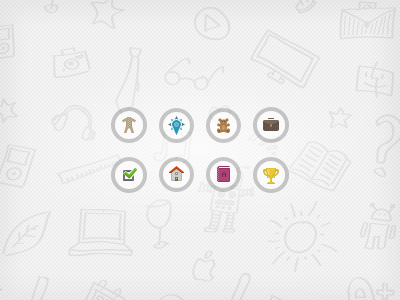 Menu icons and background pattern menu website icon overall position teddy bear portfolio bag work check house home book cup pattern