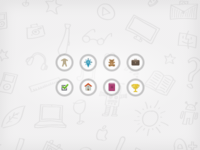 Menu icons and background pattern