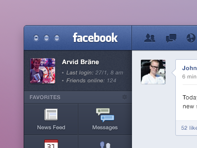 Facebook for OS X facebook native mac redesign gui like ambient ui