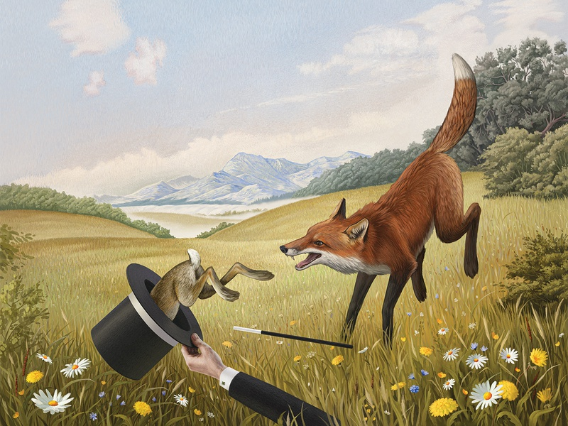 CatchMe brushwork clouds magic magician hat grass fields flowers meadow woods forest mountains illustration rabbit fox digital watercolor
