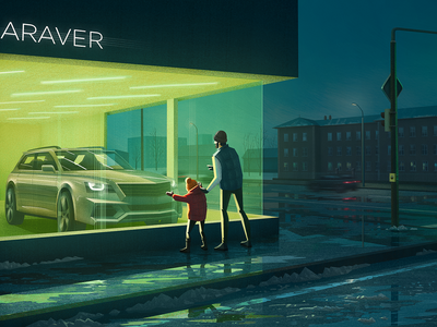 Winter campaign wet sidewalk wet road snow puddles family kids brush texture car showroom night street night lights shop window vintage style car company illustration