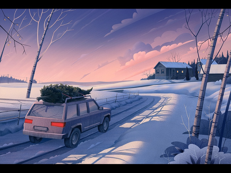 Winter campaign editiorial winter trees snow and ice sunset clouds christmas tree retro car yellow and blue cold evening snow road vintage illustration winter scene