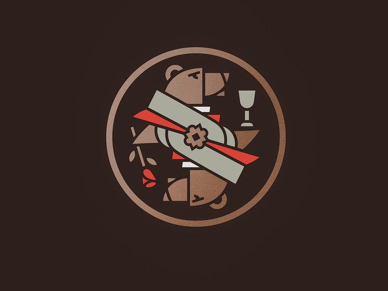 Logomark minimal simple symmetry gold brown stamp bears glass rose bear illustration classy vector logo