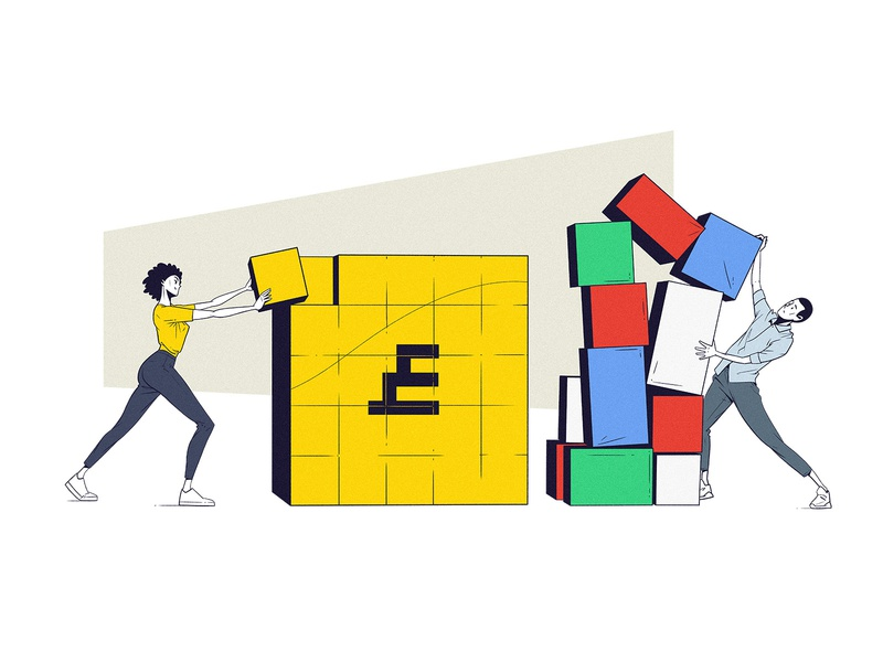 Built From Scratch cartoon balance lines comic flat cubes posture poses character design yellow falling boxes couple woman man illustration