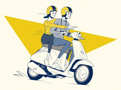 Journey clean vespa bike vintage 2d photoshop digital drawing fun comic cartoon flat linedrawing woman on bike man on bike couple riding bike