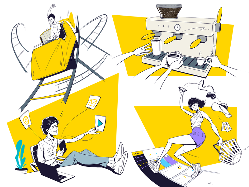 Sketches illustration digital identity design shopping rollercoaster desk coffee branding corporate yellow photoshop illustrator sketch linework illustration