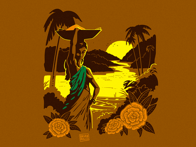Orient fauna birds palm tree spice boats flowers plants hills river oriental nude sunset woodcut shapes illustrator vector