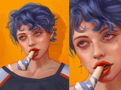Party drawing fashion pretty girl sketch speedpaint digital portrait freckles orange background cross party red lips blue hair girl portrait illustration digital paiting