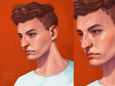 Smoldering look artwork photoshop brushwork speedpaint outlines cartoonish brown hair white shirt skin tones cool guy deep look fashion hairstyle red background digital portrait portrait illustration