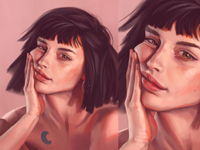 Skin tones pastel colors speedpainting digital drawing digital painting portrait soft light dark hair tattoo naked woman short hair green eyes hand hand on face pretty girl