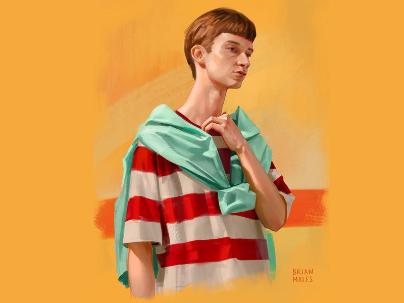 Dude portrait illustration digital painting photoshop short hair skin yellow background red stripes striped tshirt hoodie haircut nerd man fashion portrait